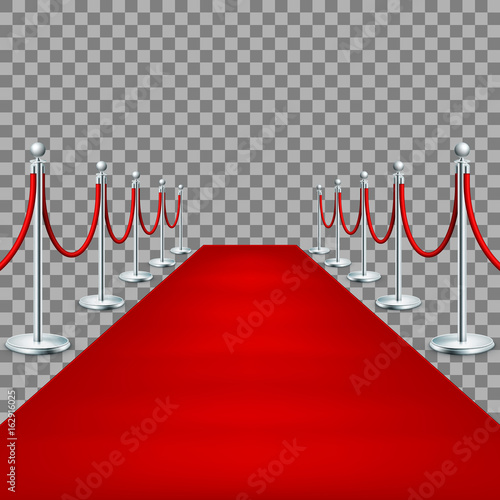 Realistic Red carpet between rope barriers. EPS 10