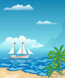 Sailboat in the sea. Tropical beach with palm trees and mountains. Rest, travel.Vector illustration.
