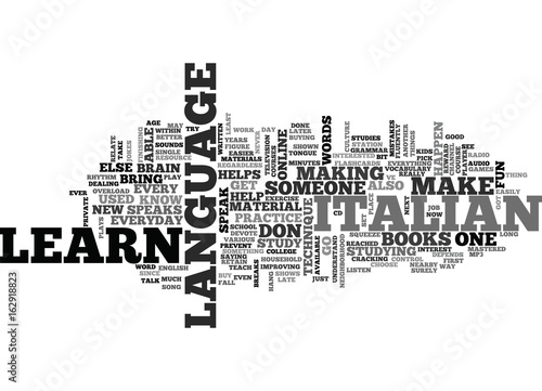 Fotografering  WHEN CAN YOU STUDY ITALIAN TEXT WORD CLOUD CONCEPT