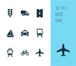 Transport Icons Set. Collection Of Way, Bicycle, Van And Other Elements. Also Includes Symbols Such As Highway, Yacht, Flight.