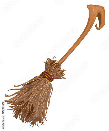 Photo Old broom witchs with long handle. Accessory for Halloween