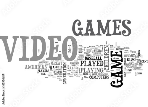 Fotografie, Obraz  WHO PLAYS VIDEO GAMES TEXT WORD CLOUD CONCEPT