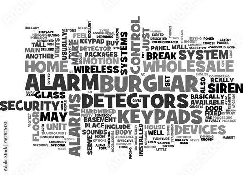 Photo  WHOLESALE BURGLAR ALARM TEXT WORD CLOUD CONCEPT