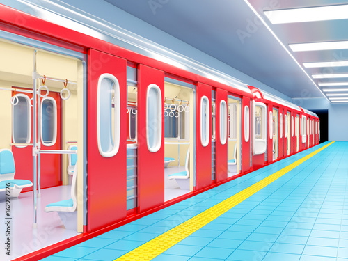 Papiers peints Gares subway train arrive on station