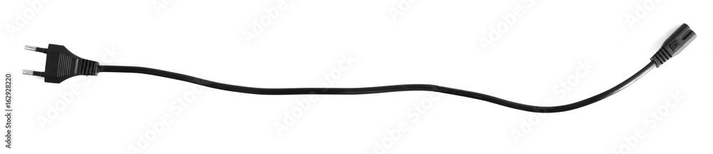 Fototapety, obrazy: Black power cable socket isolated on white background.