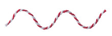 Red White String, Twine Rope Isolated On White.