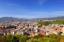 Málaga, Ciudad Jardín Desde Gibralfaro, España