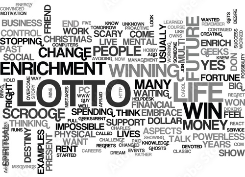 Valokuva WIN YOUR OWN LOTTO TEXT WORD CLOUD CONCEPT