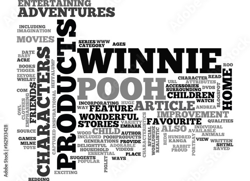 Photo  WINNIE THE POOH CHARACTER PRODUCTS TEXT WORD CLOUD CONCEPT