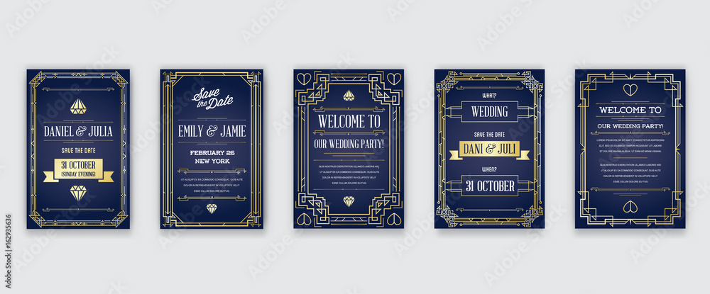 Fototapety, obrazy: Set of Great Quality Style Invitation in Art Deco or Nouveau Epoch 1920's Gangster Era Collection Vector