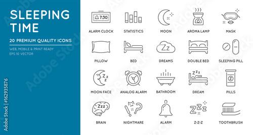 Photo  Set of Minimal Sleep Time Vector Line Icons