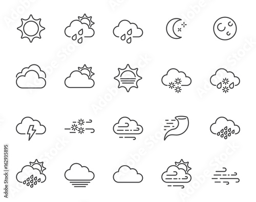 Obraz Set of Minimal Weather Related Vector Line Icons. Contains Icons like Wind, Blizzard, Sun, Rain and more. Stroke Style. Pixel Perfect. - fototapety do salonu
