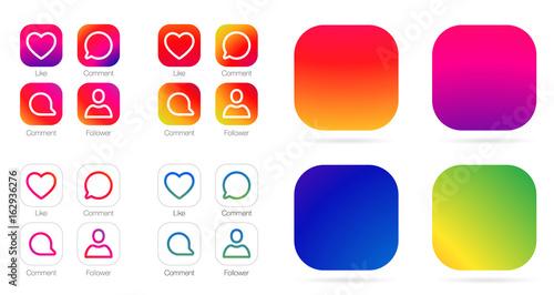 Photo App Icon Template. Vector Gradient Fresh Color Set