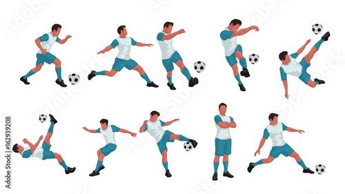 Fotografia soccer player colored set