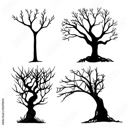 Set Of Halloween Tree Dead Tree From Vector Scary Tree In Halloween Day Halloween Tree By Hand Drawing Black Tree On White Background Buy This Stock Vector And Explore Similar Vectors At Adobe
