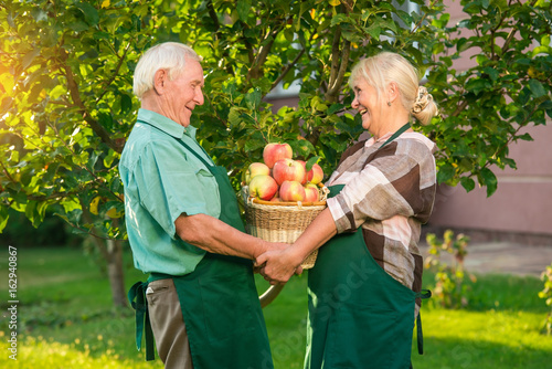 senior couple with basket smiling happy man and woman see best