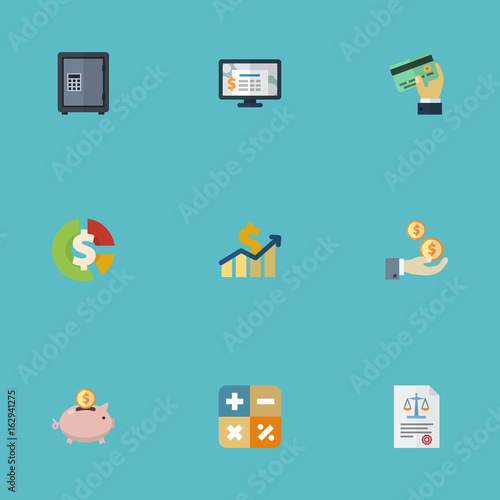 Flat Icons Moneybox Accounting System Profit And Other Vector Elements Set Of Recording