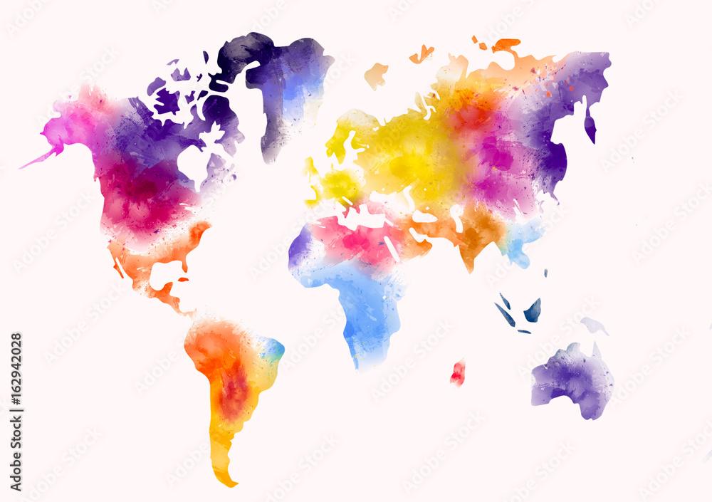 farba akwarelowa mapa świata
