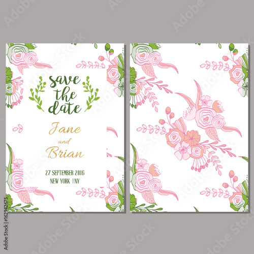 Fototapeta Save The Date Card Template In Botanical Style Wedding Invitation Baby Shower Menu Flyer Banner Template With Floral Background