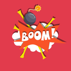 Bomb flat vector illustration with pop art banner