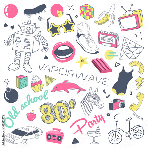235289d6bad4 80s Fashion Hand Drawn Doodle with Skateboard