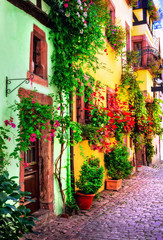 Fototapeta Architektura Floral traditional town Colmar with charming old streets in Alsace region. France