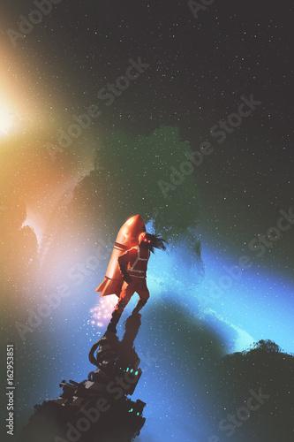 kosmonauta z czerwoną rakietą jetpack stojącą na gwiaździstym niebie, styl sztuki cyfrowej, malarstwo ilustracyjne