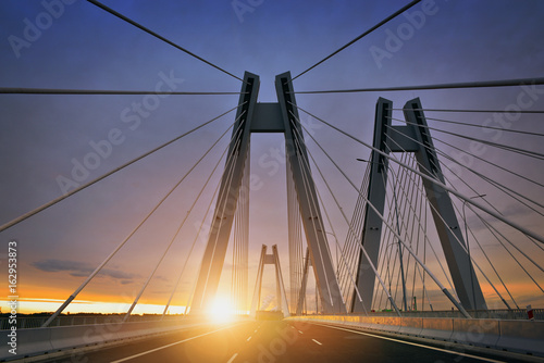 Photo sur Toile Pont Sunrise on the new bridge in the Cracow