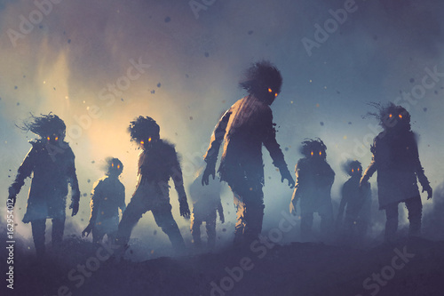 Fotografie, Obraz  halloween concept of zombie crowd walking at night, digital art style, illustra