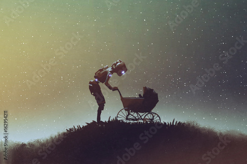 Photo sur Aluminium Grandfailure young robot looking at baby in a stroller against starry sky, digital art style, illustration painting