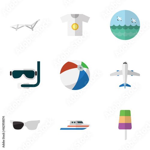 Flat Icon Beach Set Of Scuba Diving, Spectacles, Clothes And Other Vector Objects Poster