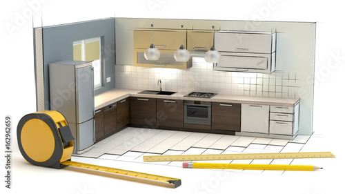 Fototapeta Project of the kitchen obraz
