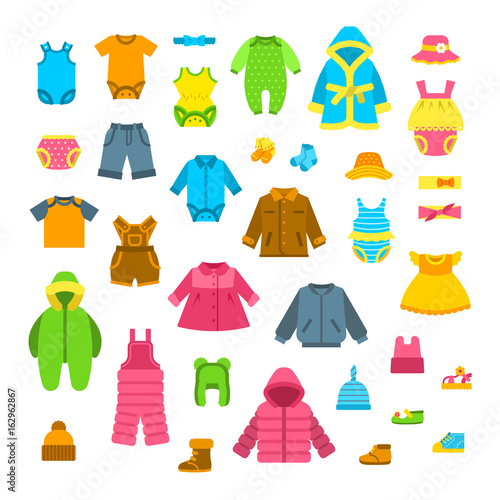 Baby clothes vector illustrations set. Newborn kid outfit ...