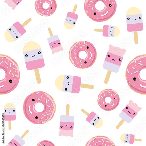 fototapeta na ścianę Seamless pattern. cute kawaii styled ice cream and pink glazed donuts.
