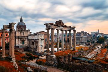 Fototapeta Rzym Roman Forum. Image of Roman Forum in Rome, Italy during sunrise.