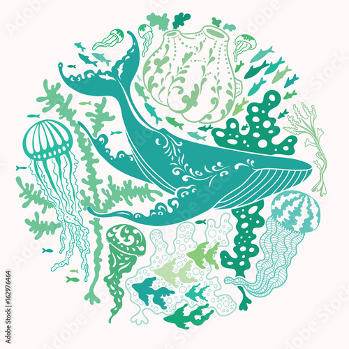 Aufkleber - Round vector print with a whale