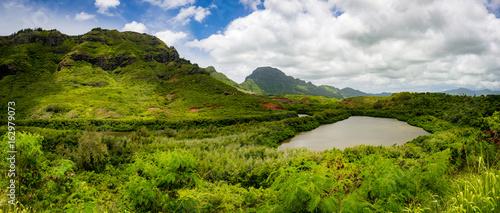 Fotografia Lush tropical Island Setting of Menehune Fish Pond Panorama