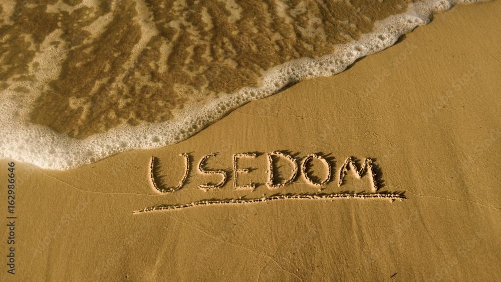 Fototapety, obrazy: Sandstrand auf der Insel Usedom, mit dem Schriftzug
