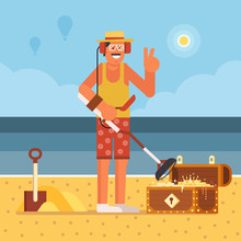 Beach Treasure Hunter Using Metal Detector On Seashore Background.  Success And Winning New Possibilities Concept. Smiling Summer Man Finding Gold Chest Box On Sea Coast.