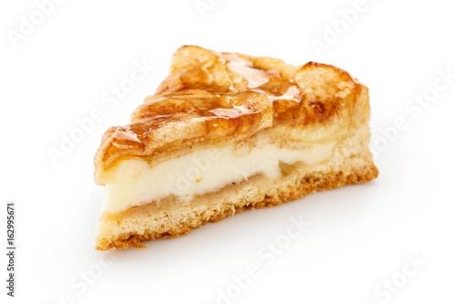 Fényképezés Slice of apple pie isolated on white