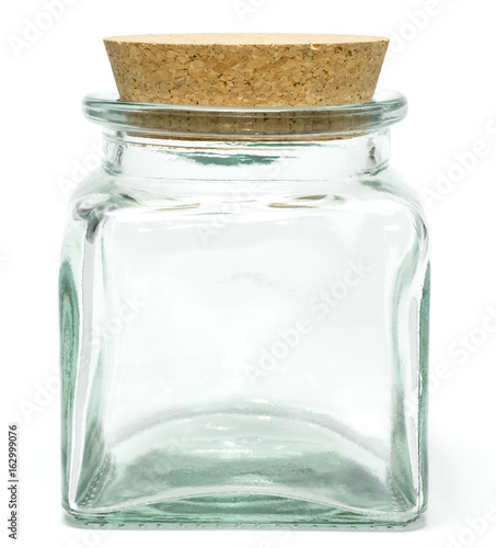 Empty jar with a cork isolated on white Tableau sur Toile
