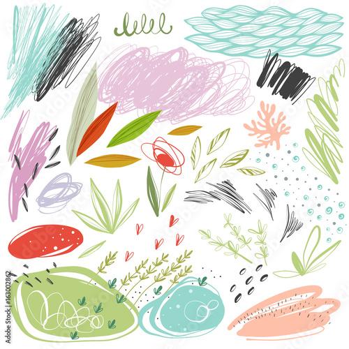 zestaw-skrobaniny-wektorowe-tekstury-i-zbiory-kwiatow-elementow