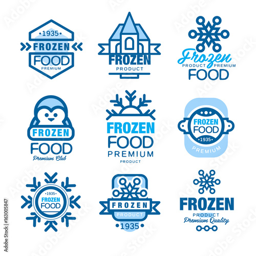 Fotografia  Frozen food premium product set of logo templates hand drawn vector Illustration