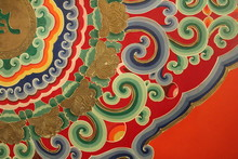Colorful Tibetan Buddhist Monastic Paintings And Decor In Qinghai Province China Asia