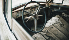 Interior Of The Old Vintage Car And Steering Wheel
