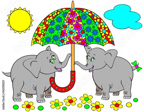 Ilustracja dwa cipy słonia trzyma parasol. Grafika wektorowa kreskówka.