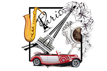Fototapeta na wymiar Coffee cup with a spoon and the Eiffel tower. Saxophone and a retro car. Hand drawn vector.