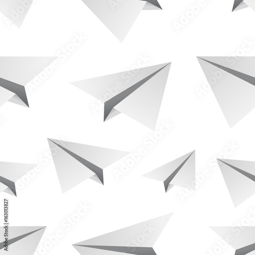 Fototapeta Vector isolated cartoon seamless pattern with paper airplane for gift wrapping paper, covering and branding on the white background. obraz na płótnie