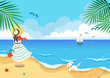 Landscape of a girl with a dog at the beach.Summer holiday background