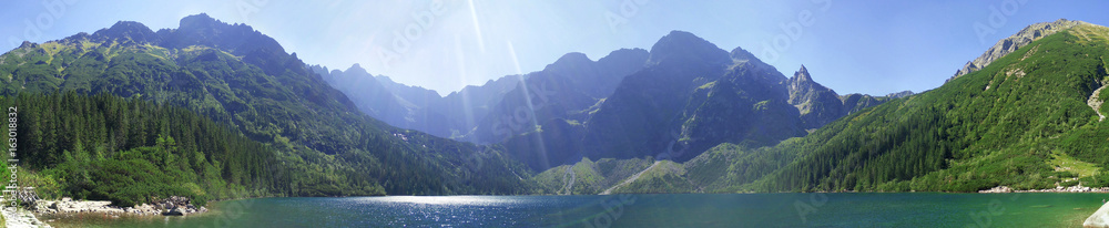 Fototapety, obrazy: Panorama from Morskie Oko and Rysy in Tatra Mountains in Poland during lovely sunny weather